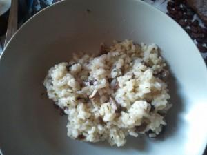 risotto con ajos tiernos y setas